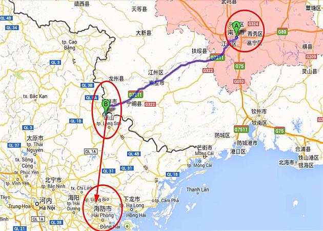 南宁到越南海防地图