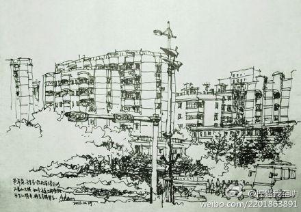 城市街道风景铅笔画