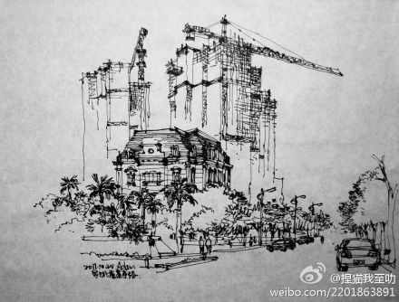 广西北海城市速写图