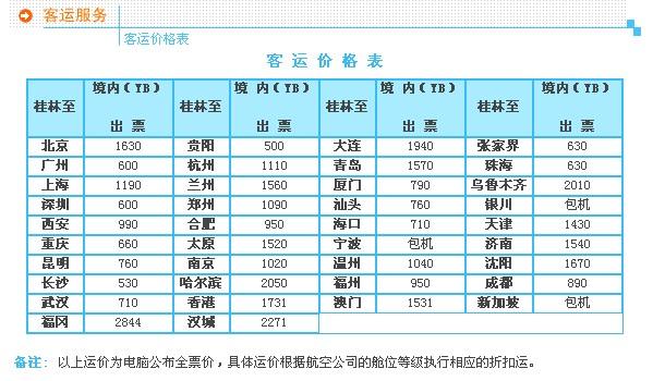 桂林机场航班时刻表